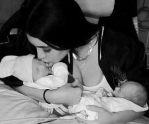 babies, black and white, and kim kardashian image