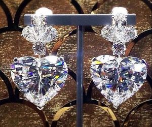 diamonds, earrings, and luxury image