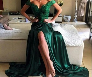 dress, green, and prom dress image
