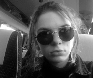 black, glasses, and sadness image