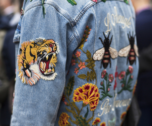 chanel, denim jacket, and gucci image