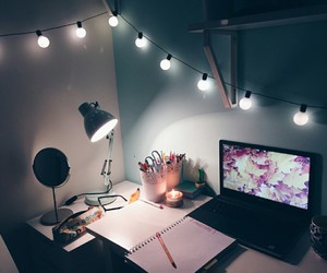 desk, lights, and room image