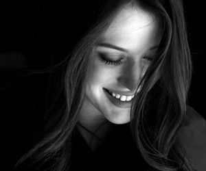 smile, Kat Dennings, and black and white image