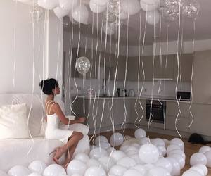 white, balloons, and birthday image