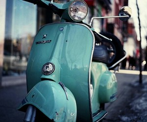 Vespa, blue, and vintage image