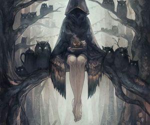 owl, dark, and art image