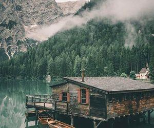cabin, lake, and wood image