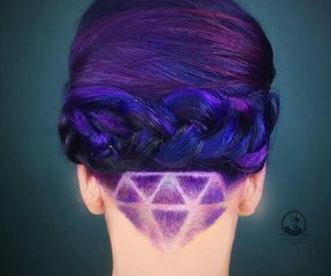 hair, purple, and undercut image