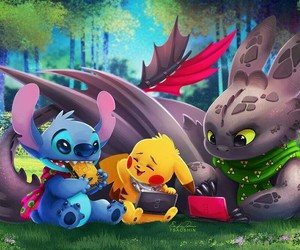 stitch, pikachu, and toothless image