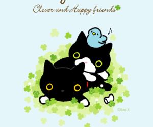 black cat, cat, and clover image