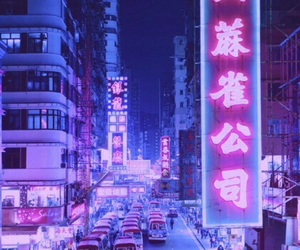 purple, neon, and city image