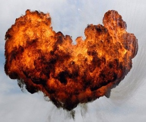 fire, heart, and explosion image