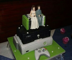 cake, xbox, and wedding image