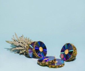pineapple, cd, and blue image