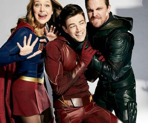 arrow, melissa benoist, and grant gustin image