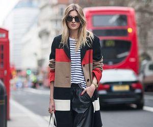 coat, colourblock, and stripe image