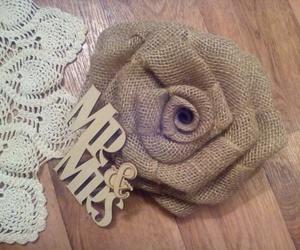 burlap, floral, and rose image