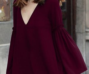 burgundy, dress, and casual image