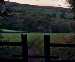 farm, fence, and sunset image