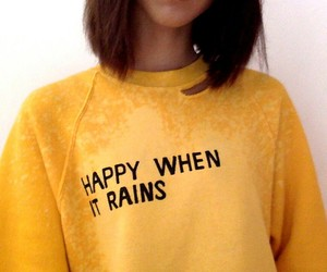 yellow, rain, and happy image