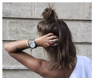 bun, hair, and half bun image