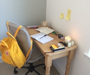 yellow, desk, and aesthetic image