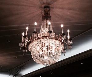 chandelier, interior, and luxury image