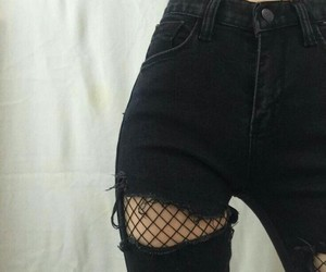 black, grunge, and ripped jeans image