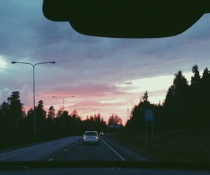 clouds, road, and pink image