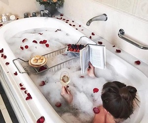 bath, book, and relax image