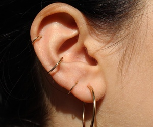 earrings, ear, and gold image