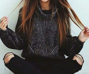 black, casual, and pullover image