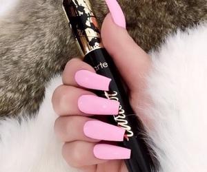 nails, pink, and makeup image