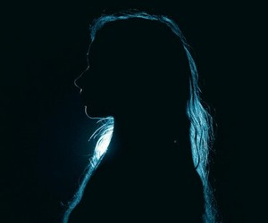 girl, blue, and dark image