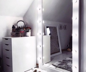drawers, mirror, and grey image