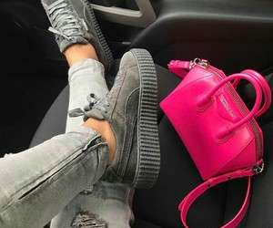 puma sneakers, givenchy purse, and pink givenchy purse image