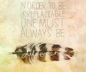 quote, different, and feather image