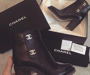 black, boots, and chanel image