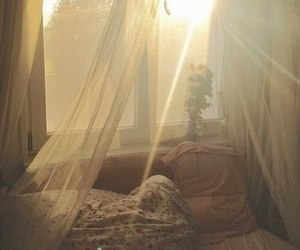 room, bed, and morning image