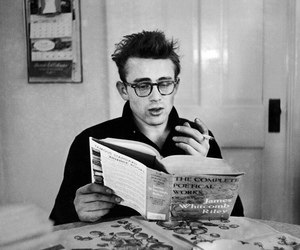 james dean, black and white, and book image