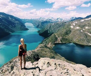 girl, adventure, and landscape image