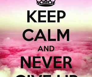 keep calm, pink, and clouds image