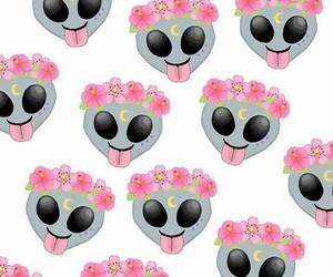 flowers, emoji, and alien image