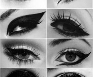 black and white, eye, and eyeliner image