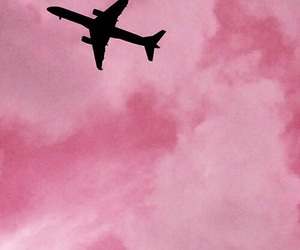 pink, sky, and airplane image