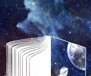 book, moon, and stars image