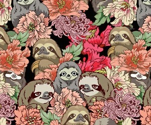 flowers, sloth, and wallpaper image