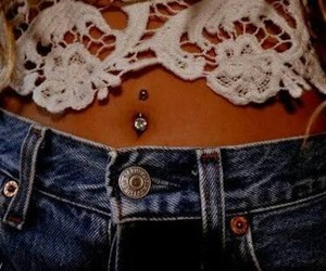 piercing, lace, and belly button image