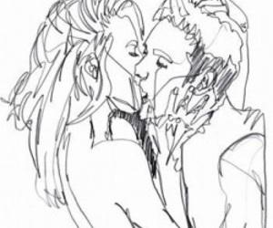 kiss, art, and couple image