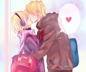 cute couple, kiss, and manga image